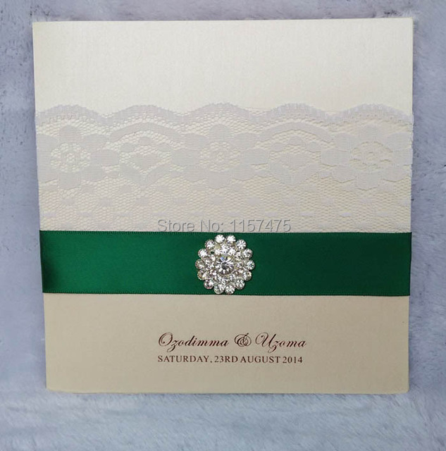 Hi1063 ivory wedding invitation card with white lace and ribbon and hi1063 ivory wedding invitation card with white lace and ribbon and brooch stopboris Gallery
