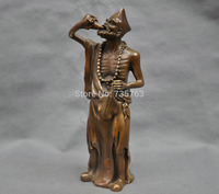 00894 13'' China Folk The Mad Monk Jigong Any Drinking Wine Bronze Statue
