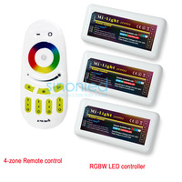Free Shipping Remote 3x RGBW LED Controller Group Control 2 4G 4 Zone Wireless RF Touch
