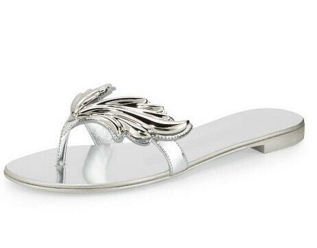 Newest  Wings Patent Flat Thong Sandal Black Gold Silver Metallic Leather Sandals Stacked flat Heel Summer Beach shoes woman