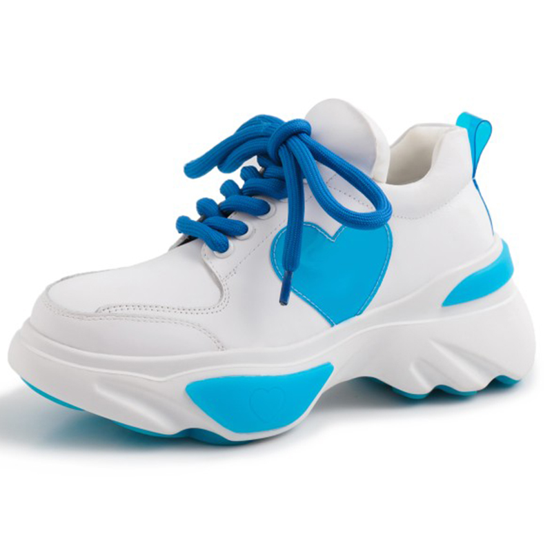 2019 Printemps Style Bout Rond Bleu Rose Chunky Sneakers Papa Chaussures Véritable En Cuir Panier Femme Femmes Vulcaniser Chaussures GO2H955