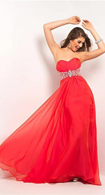 Stock vestidos Prom Dresses A Line Chiffon Sweetheart Prom Dress ...