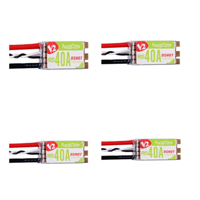 High Quality 4PCS/lot Racerstar RS40A V2 40A BLHELI_S BB2 OPTO 2-5S 4 in 1 ESC Dshot 600 Ready for FPV Racing RC Multicopter alzrc devil 380 fast fbl kit rc helicopter kit aircraft rc electric helicopter 380fbl frame kit power driven helicopter drone