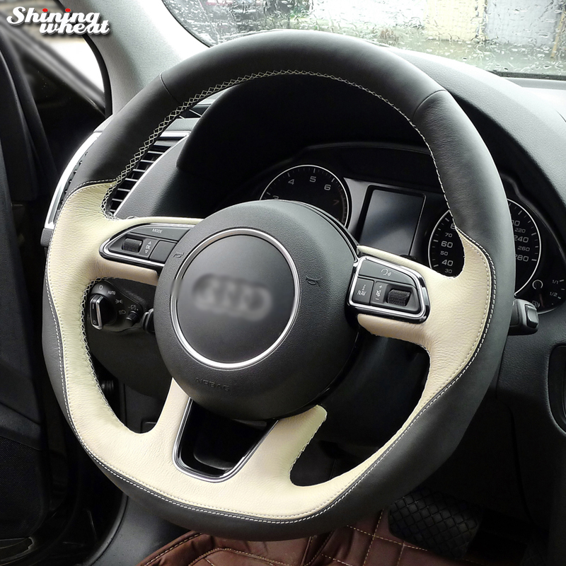 Shining wheat Black Beige Leather Hand stitched Car Steering Wheel Cover for Audi Q3 Q5 2013 2015-in Steering Covers from Automobiles & Motorcycles    1
