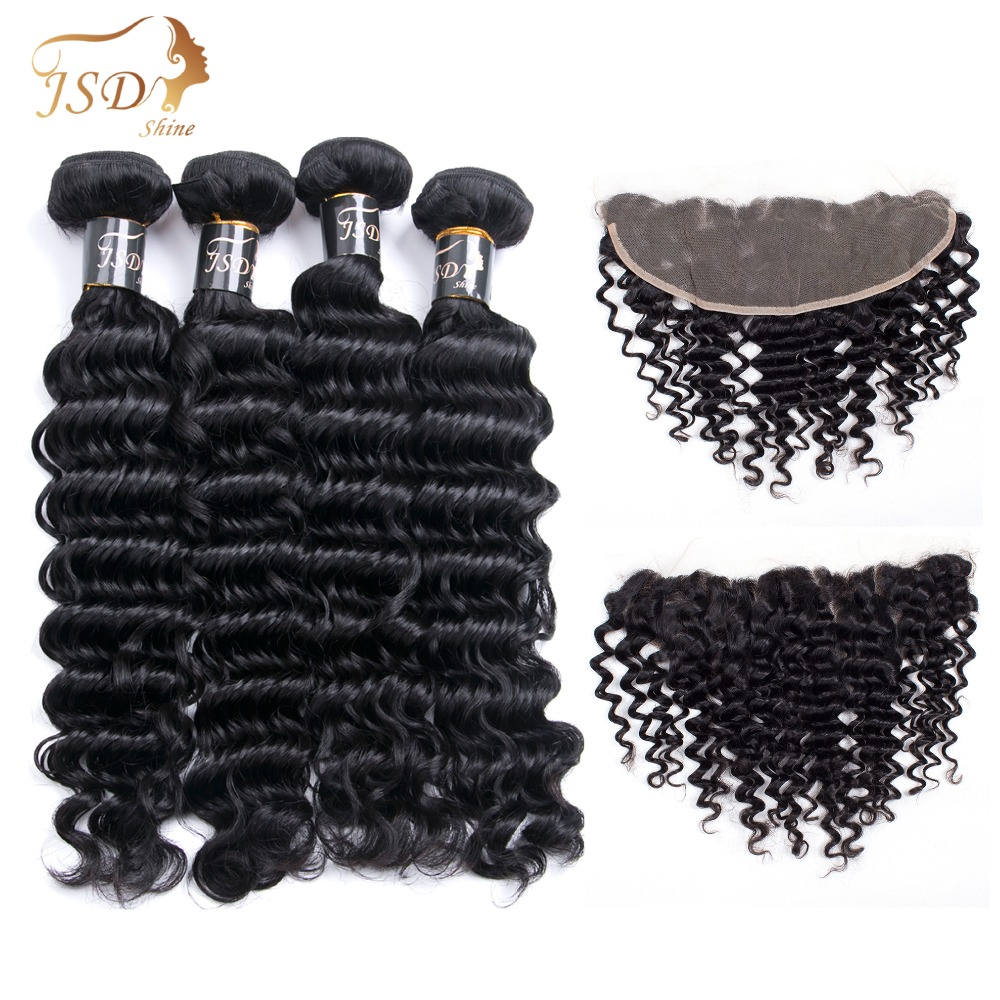 JSDShine Indian Deep Wave 4 Bundles With Closure 13*4 Non-Remy Natural Color Human Hair Bundles with Closure Lace Frontal