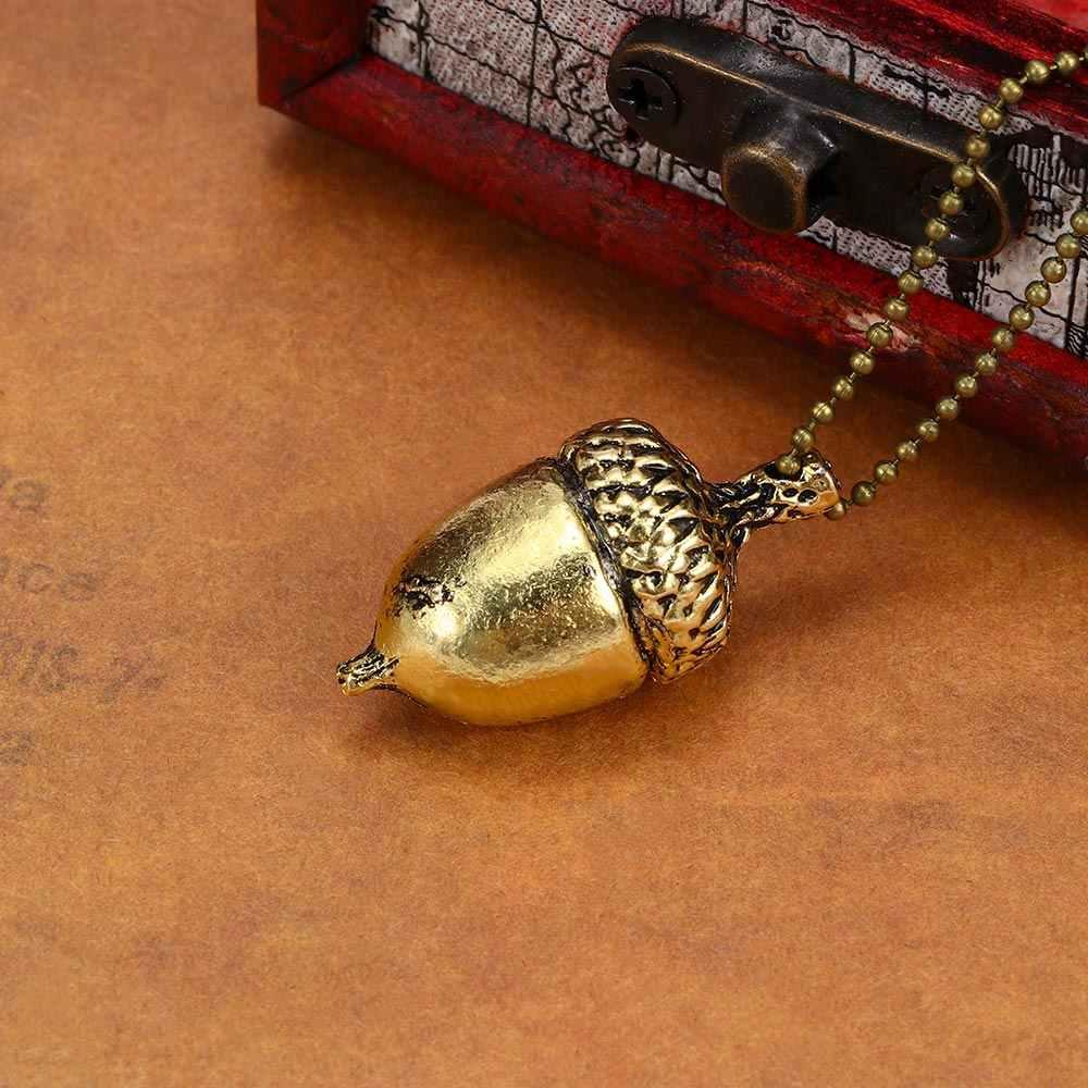 1 Pcs ผู้หญิงการออกแบบที่เรียบง่าย Bronze Chain Link สี Geometric Hazelnut รูปร่างจี้สร้อยคอแฟชั่นเครื่องประดับ Charm
