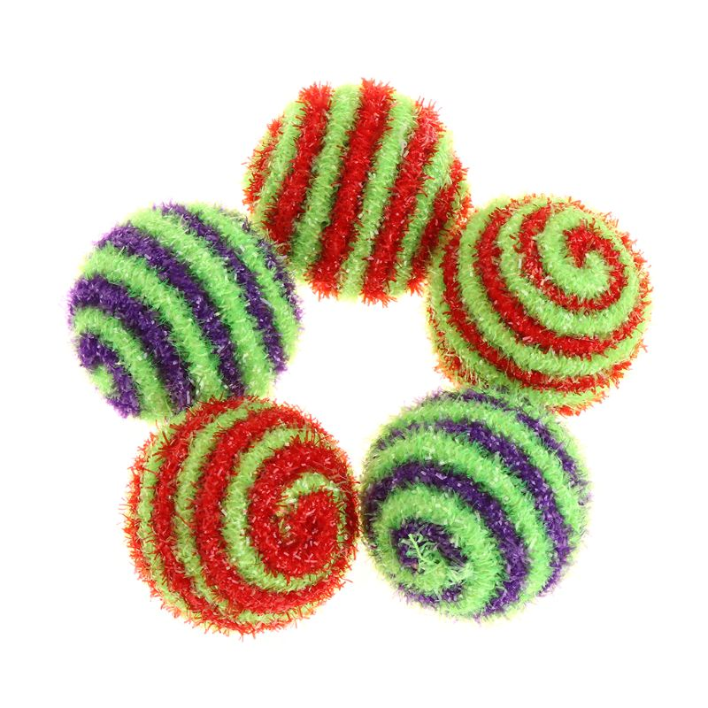 5Pcs Cat Squeaky Ball Sound Candy Color Spiral Kitten Dog Puppy Pet Toys Balls Crinkle Woolen Glitter Attract Interactive