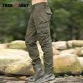 Freearmy Marca Casual Pantalones Cargo Eslora Mens Pantalones Cónicos Pantalones Bolsillos de Algodón Masculino Ropa de Los Hombres de Gran Tamaño MK76667