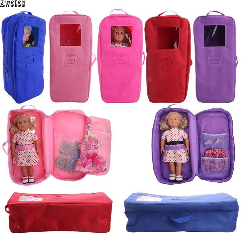 FreeShipping Boneca Cores Mala De Viagem Carry Acessórios Para 18 Polegada 5 American Doll & 43 Centímetros Boneca Nossa Geração brinquedo de menina