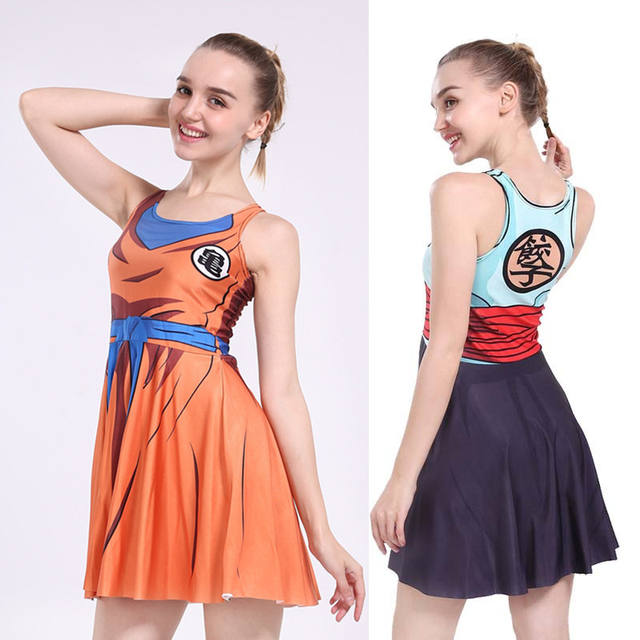 Sexy Girl Summer Dress Dragon Ball Cosplay Son Goku Vegeta Reversible Sleeveless Skater Women