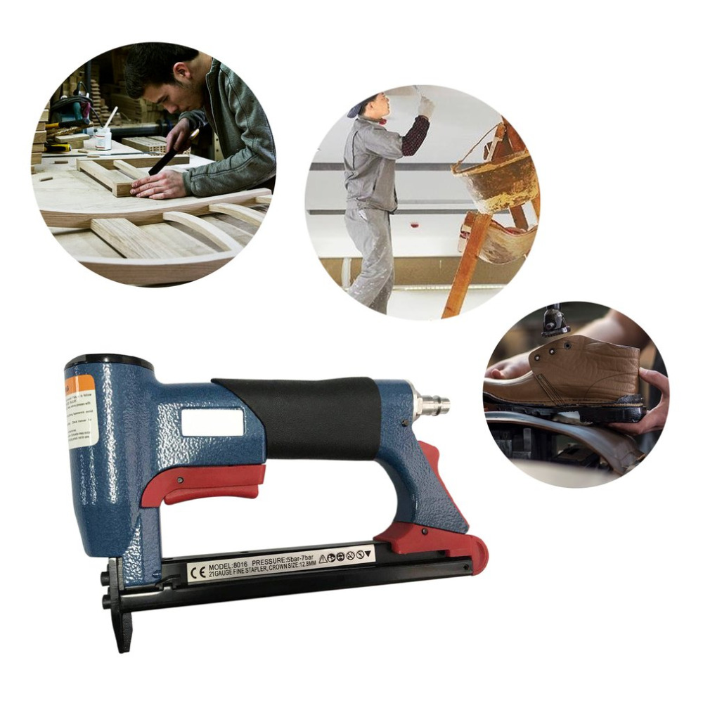 ACEHE 1/2 Fine Crown Nail Stapler Pneumatic Air Stapler Nailer Staple Stapling Gun 4-16mm Woodworking Pneumatic Power Tool New pneumatic nail puller for recycle pallet nail remover air nail punch not include the custom tax