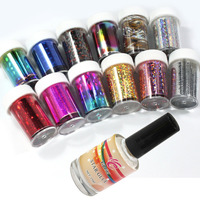 12 Colors Nail Art Transfer Foil Sticker For Nail Tips Decoration Glue Set