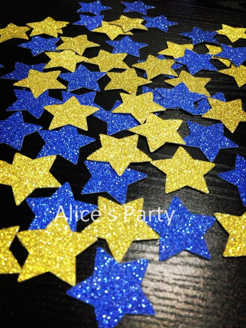 Hot 400pcs Royal Blue Gold Cartoon Stars Confetti 1st Le Star Birthday Baby Shower Party Decorations