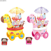 Pretend Play Fawn Candy Car Kitchen Toys Set Light Music Ice Cream Shopping Cart Simulation Role Play Deer Shaped Kids Gift Toy