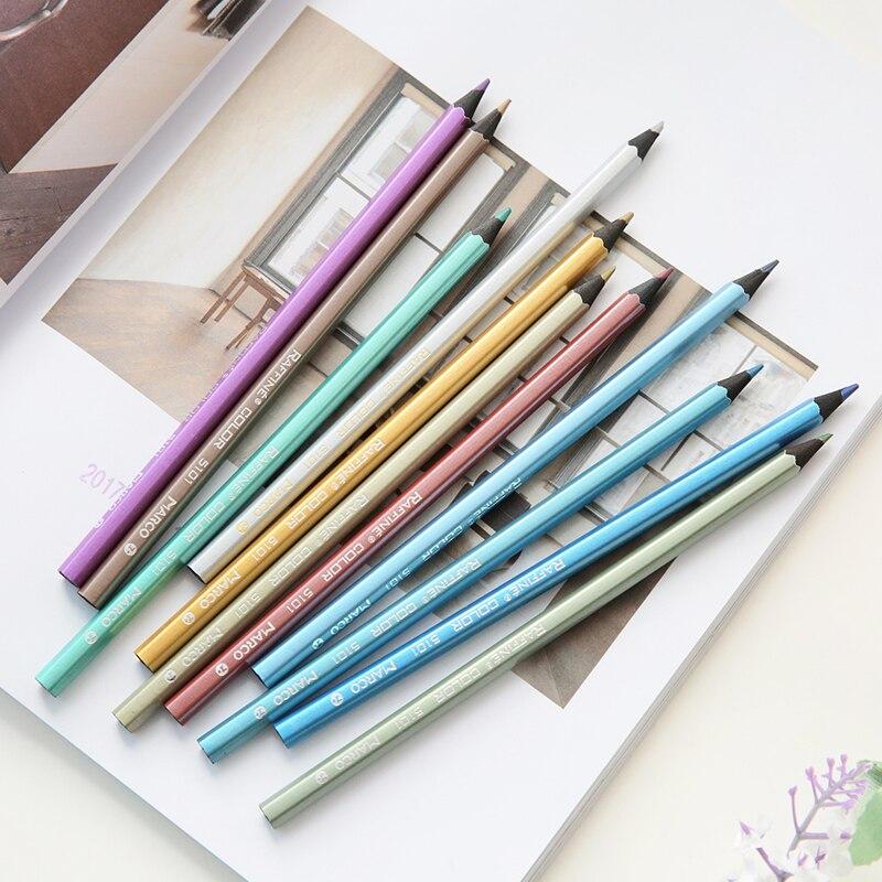 Marco Metal Color Pencil Set Black Wood Pencils Crayon Painting Drawing Art Supplies Stationery School Supplies FB495