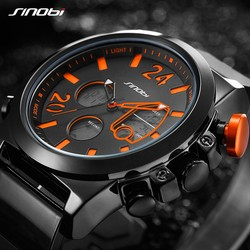 SINOBI 2018 Men Wrist Watches LED Chronograph Clock Man Military Waterproof Quartz Male Watches Digital Sport Relogio Masculino