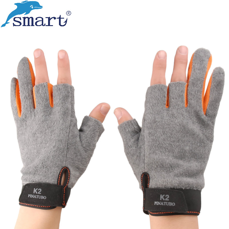 Smart 1Pair Warm Fishing Gloves Half Finger Breathable Anti-Slip Men's Gloves for Winter Fishing Pesca Acesorios Outdoor Sports 1 pair 3 half finger fishing gloves skidproof resistant half finger cycling fishing anti slip tool for fishing tackle boxes hot