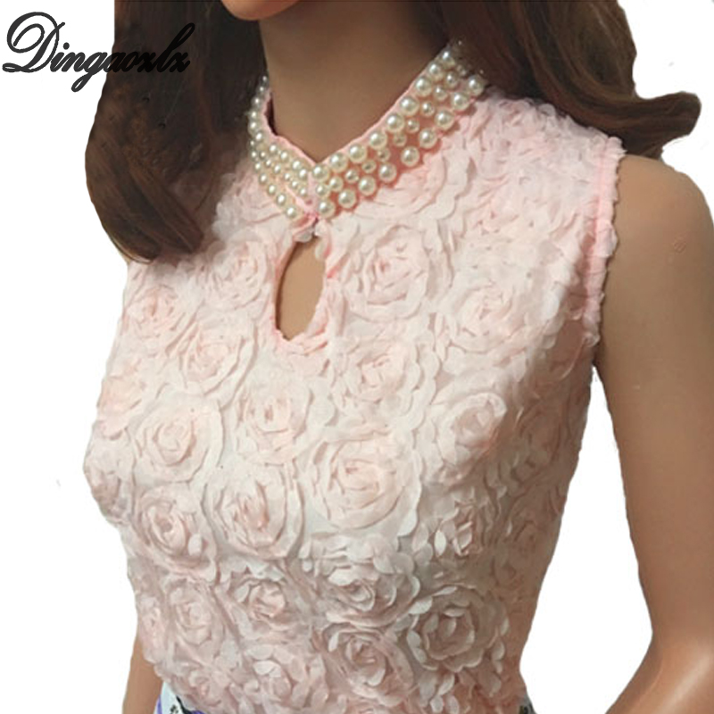 Dingaozlz Summer Vest Tops Fashion Women clothing Sleeveless Chiffon   shirt   Elegant Beaded lace   blouse   Blusas Femininas