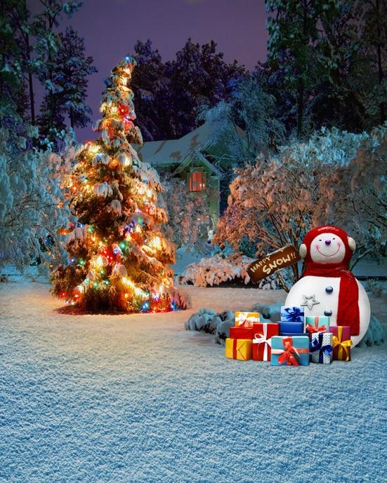 8x12FT Snow Field Snowman Winter Night Glow Christmas Tree ...