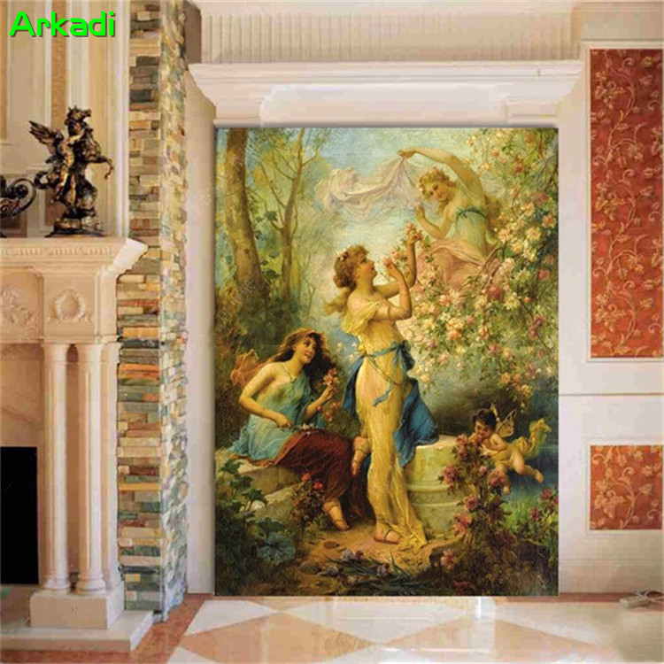 European aesthetic character flower oil painting entrance entrance background religious angel photo custom wallpaper home decor