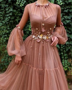 Image 3 - 赤面教徒のイブニングドレスaライン長袖花チュールイスラムドバイサウジアラビアアラビアエレガントなロングイブニングドレス