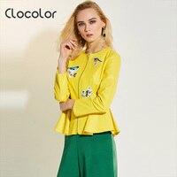 Clocolor Woman Jacket Solid Peplum Print Coat Plain Slim Zipper Causal Outwear 2017 Fashion Autumn Winter