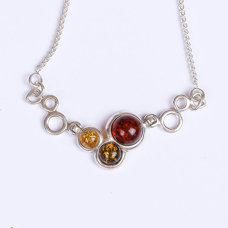 amber pendant genuine fashion female 925 silver mosaic distribution water droplets clavicle necklace factory direct недорго, оригинальная цена