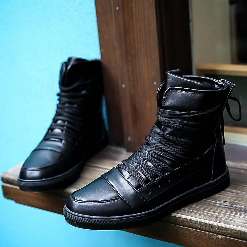 25835e5349b ... New Men Casual Shoes Top Quality Pu Leather Men High Top Shoes Fashion  Lace Up Breathable ...