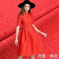 Special event red elegant elegant jacquard fabric autumn and winter dress coat damask fashion fabric vertical sense