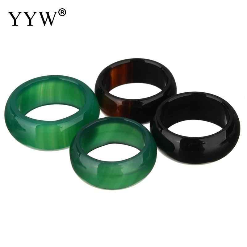 YYW ธรรมชาติสีเขียวสีดำ Agata แหวนหิน Unisex ผู้หญิงชายรอบวงกลมกลาง Midi แหวนเครื่องประดับจริงแหวนหิน