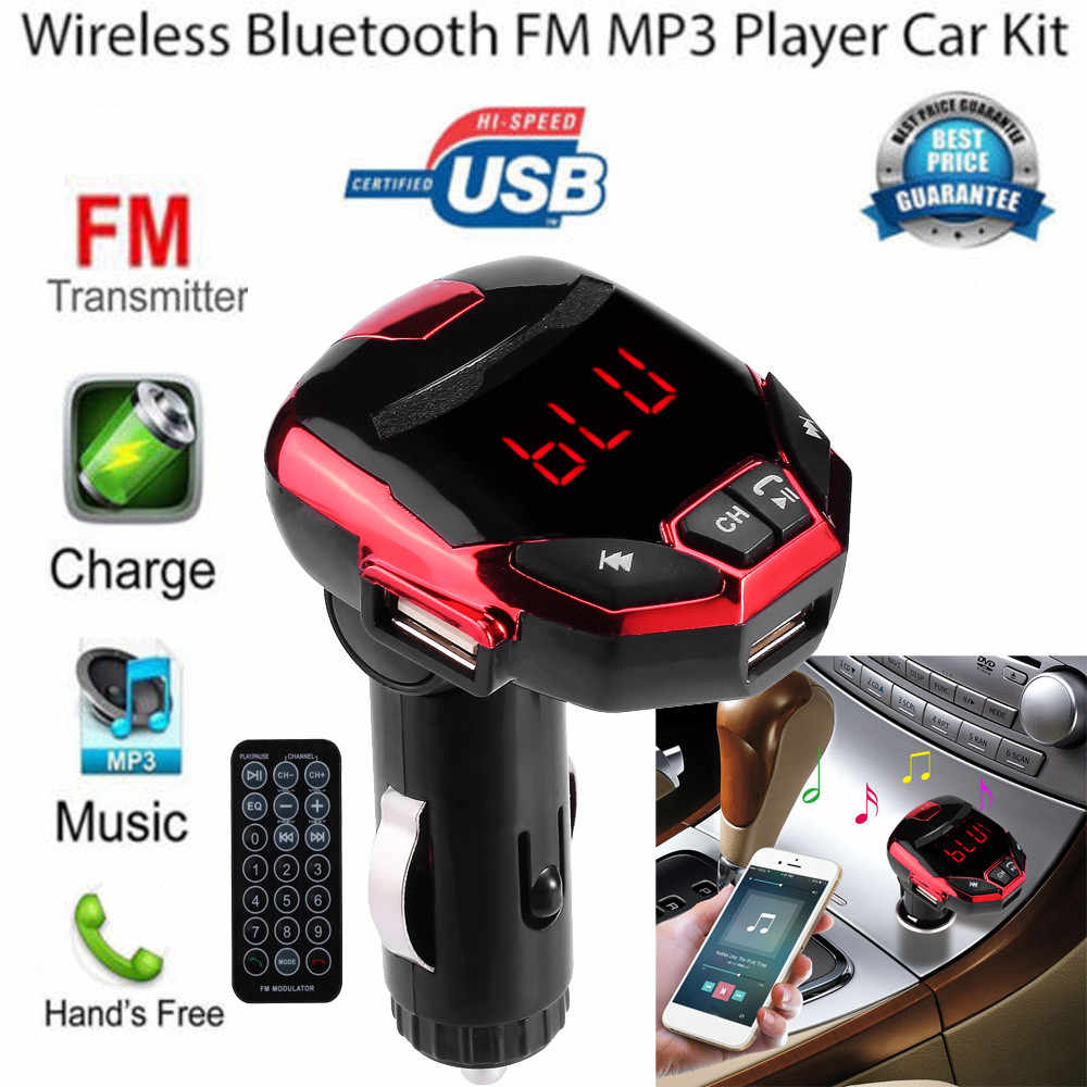 Bluetooth Car Kit Freihändiger Drahtloser FM Sender Quick Charge Dual USB Ladegerät LCD FM Auto MP3 Player YJJ1