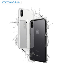 osmia For iPhone 7 8 Phone Shell 7 8 plus Protective Sleeve Tempered Glass Back +TPU Case Cover for iPhone X Anti-shock