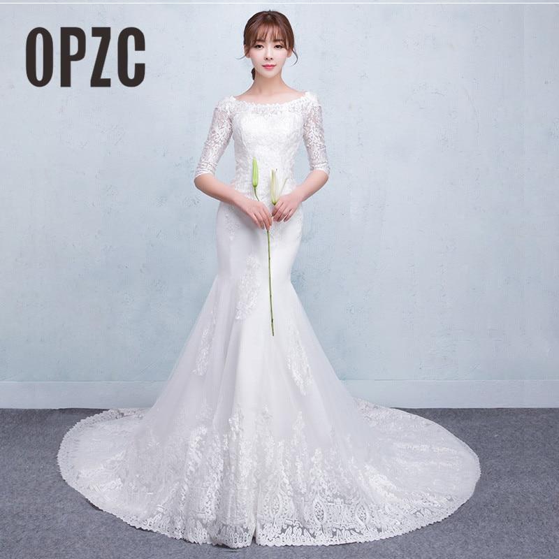 New Dream Princess Sweet Boat Neck Half Sleeve White Lace Mermaid Wedding Dress 2018 Vintage vestido De noiva Bridal Dress-in Wedding Dresses from Weddings & Events    1