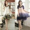 Беременным платья большой размер женщин жир мм летнее платье корейских беременных женщин широкий короткими рукавами шифоновое платье жира сестра