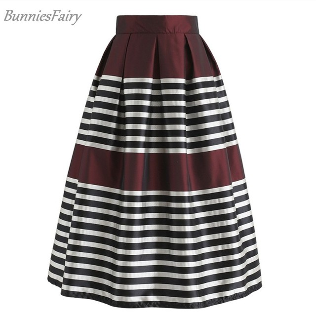 06bc9aad3 BunniesFairy 2018 Autumn Women Retro Classic Black White Striped Print High  Waist Pleated Midi Skirt in