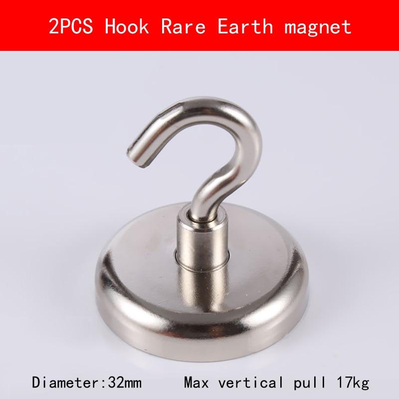 2PCS Base D32 hook max vertical pull 17KG permanent rare earth Magnet Multipurpose magnetic hook gunsafe bs968 d32 l43
