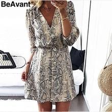 BeAvant Sexy snake print women dress winter 2018 V neck lantern sleeve loose casual dress Elegant button autumn dress vestidos