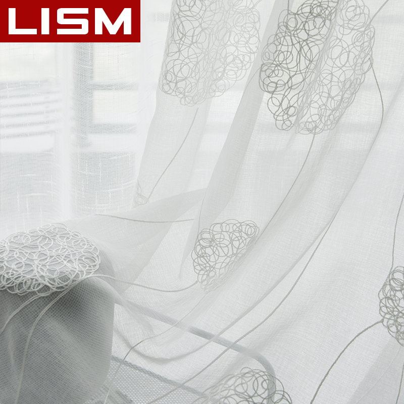 Tulle Curtains Linen Window-Drapes Kitchen Voile Sheer Bedroom Living-Room Embroidered