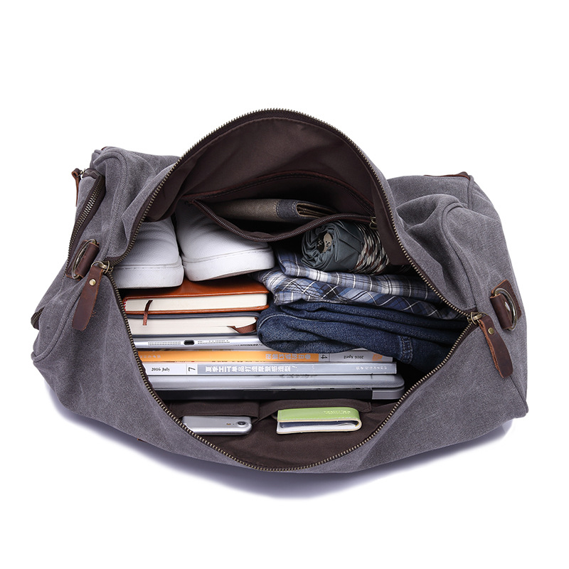 Travel Bags Canvas Large capacity Retro Handbag Travel Bag Wearable +Waterproof Travel Bag - 4