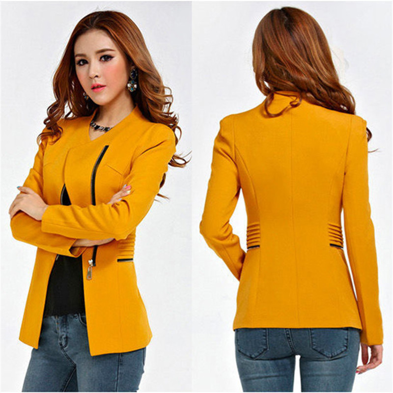 Candy-Color-Long-Sleeve-Women-Zipper-Blazer-Suit-Slim-Casual-Jacket-Coat-Outwear-HJ1