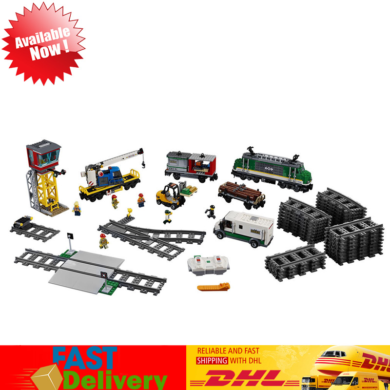 Lepin 02118 1373Pcs City Cargo Train Bluetooth Remote Control Motorized Building Blocks Bricks Toys Compatible LegoINGlys 60198 2018 lepin 02118 city series rc cargo train set compatible legoinglys 60198 city train building blocks bricks toys for children