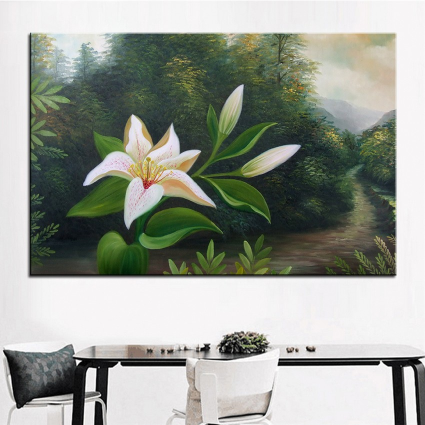 Wall art wall decor wall flower painting white lily original oil