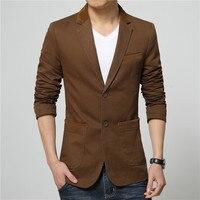 Hombres Chaquetas de traje de color sólido de alta calidad slim fit abrigo 2018 Venta caliente marrón caqui chaqueta jaquetas hombres tamaño M 5xl