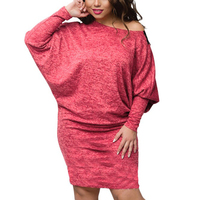 2018 Winter Dress Plus Size Evening Party Dress Batwing Sleeve Knitted Bodycon Lace Dress Sexy Women