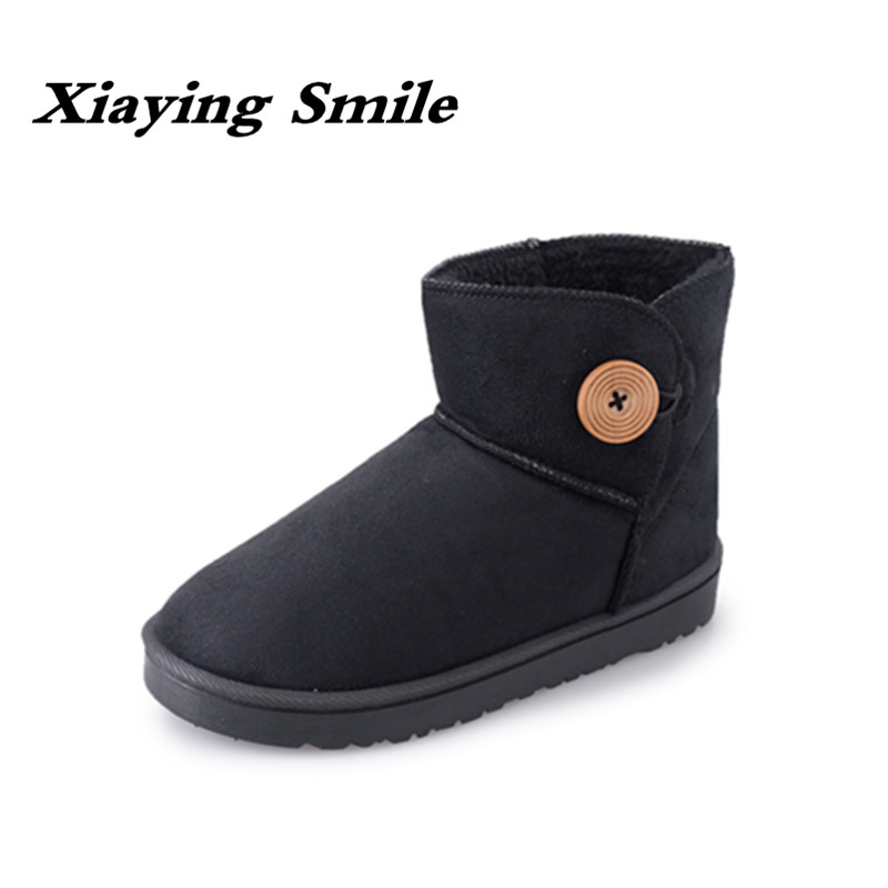 Xiaying Smile New Winter Women Snow Boots Warm Round Toe Ankle Boots Solid Platform Flats Fashion Casual Flock Fur Rubber Shoes xiaying smile winter women snow boots warm antieskid mid calf boots platform strap slip on flats casual women flock rubber shoes