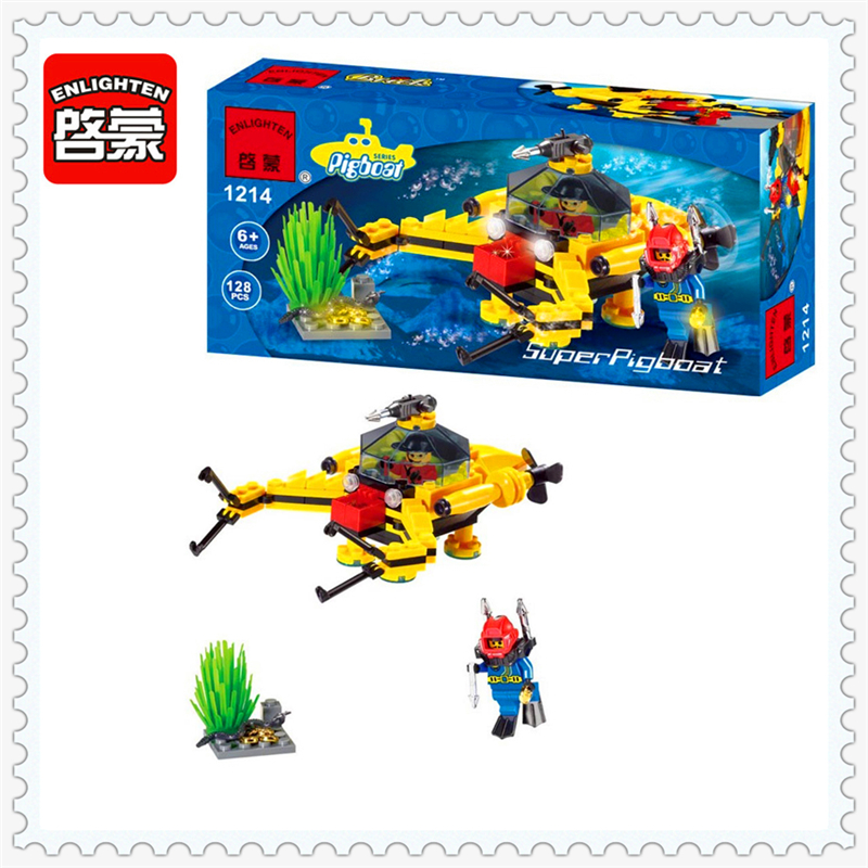 Treasure Digging Submarine Model Building Block Toys Compatible Legoe ENLIGHTEN 1214 128Pcs Educational Gift For Children sluban 0372 block compatible legoe aviation city aircraft repair shop model 596pcs educational building toys for children
