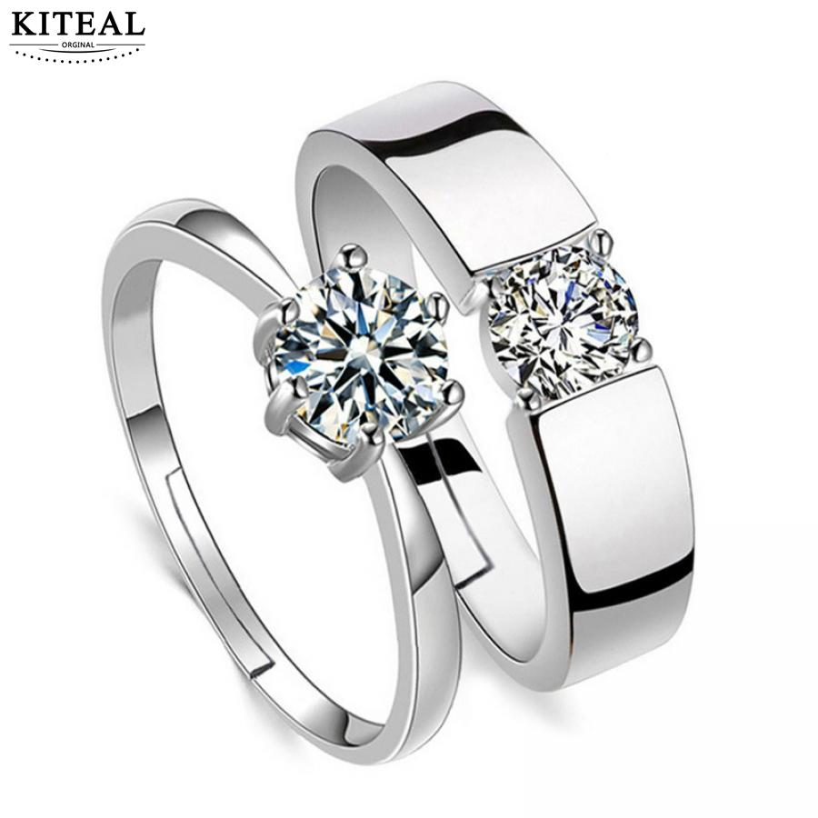 Fashion jewelry Crystal CZ sparkling zircon Wedding Engagement Rings for Couples silver color Adjustable Ring for women men 925