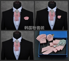 Free Shipping mens male fashion diamond high-end bow groom groomsmen wedding collar accessories tie rose brooch Pocket towel set