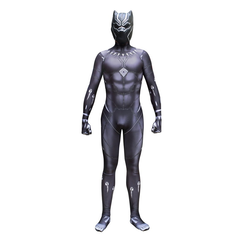Movie Lycra Black Panther T'Challa  Bodysuit Costumes Cosplay  Latex Mask for Man Woman Kids Zentai Cosplay