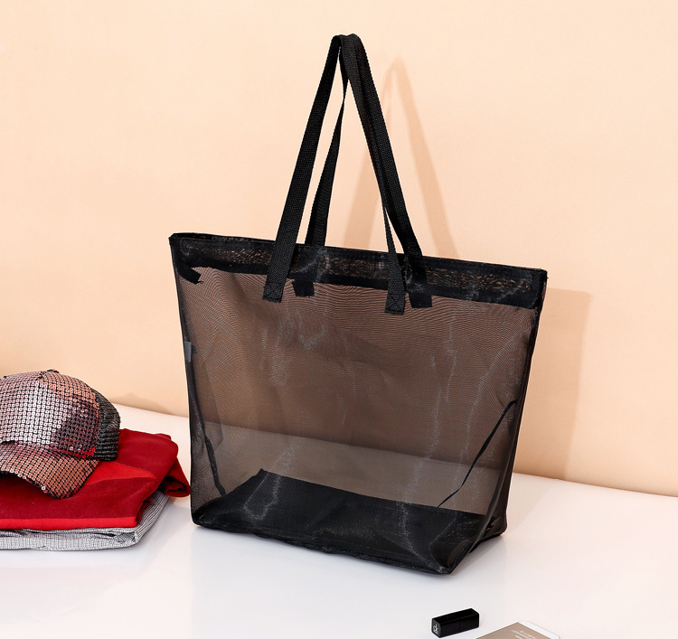 Unisex Sheer Transparent Mesh Tote Summer Beach Bag Travel ...